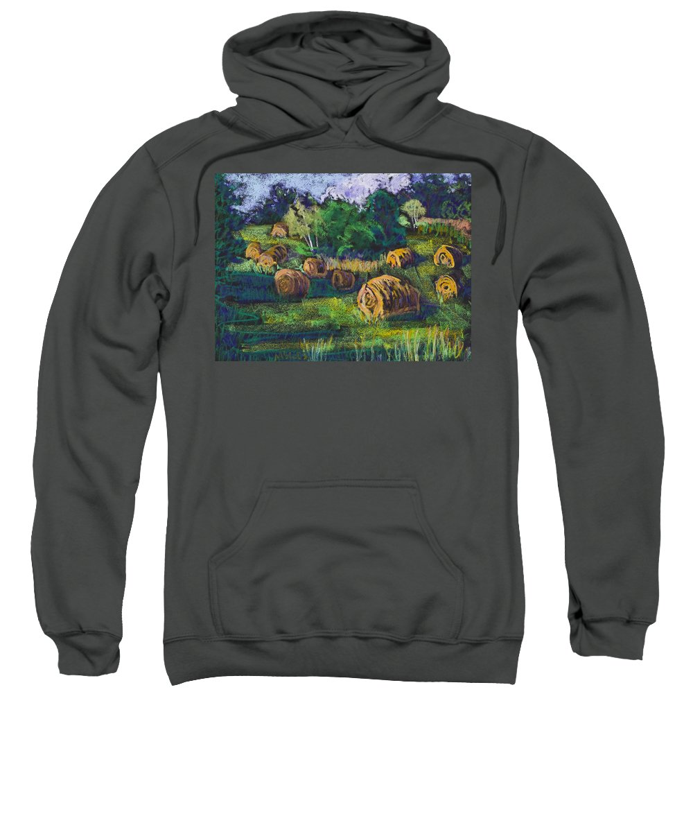 Hay Bales Sweatshirt featuring the painting Golden Fields Of Door County by Madonna Siles