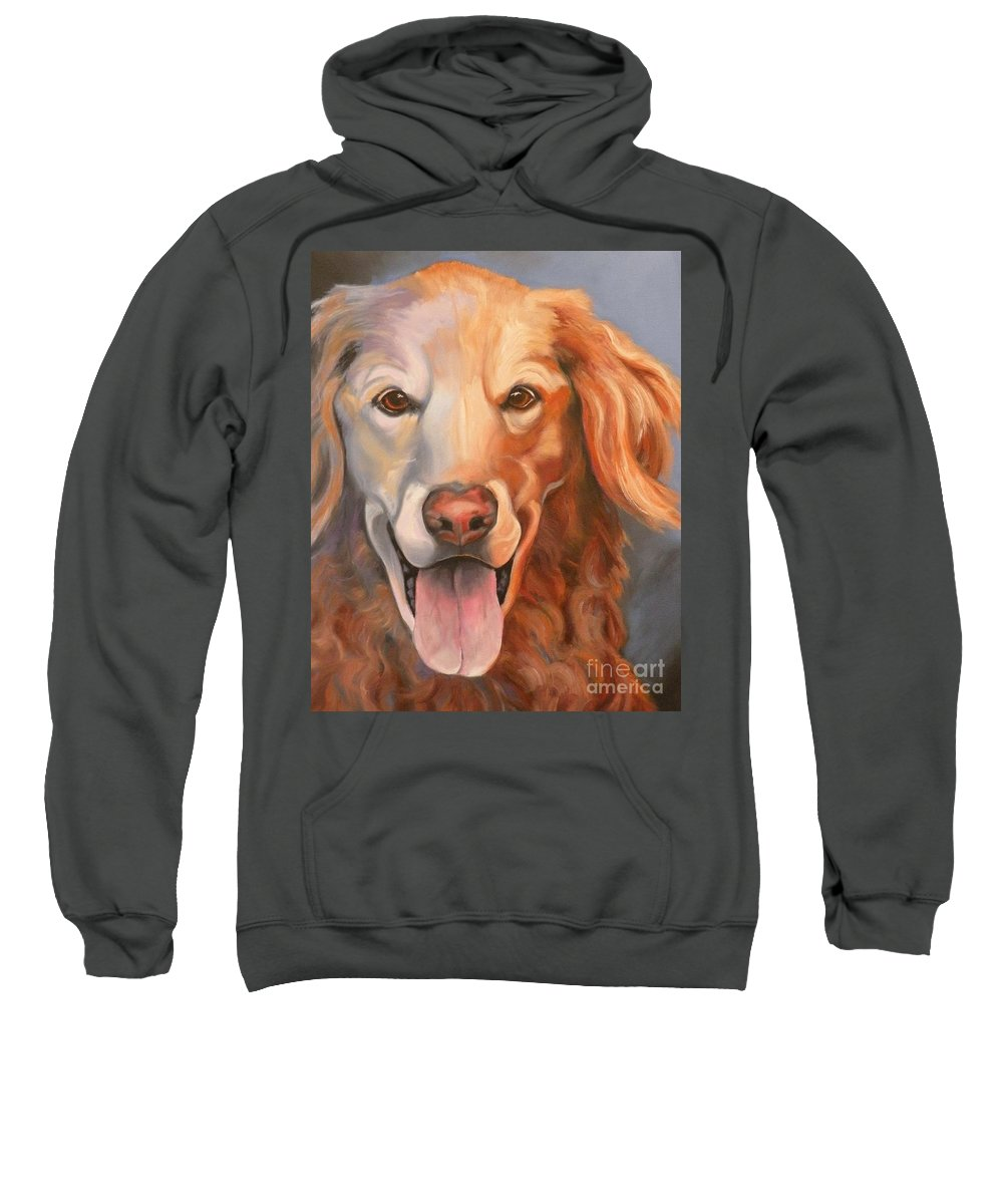 Dogs Sweatshirt featuring the painting Golden Retriever Till There Was You by Susan A Becker