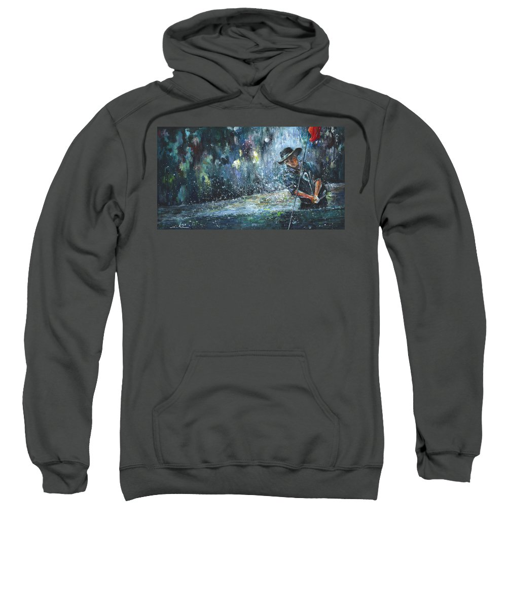 Golf Sweatshirt featuring the painting Golf Delirium Nocturnum 01 by Miki De Goodaboom
