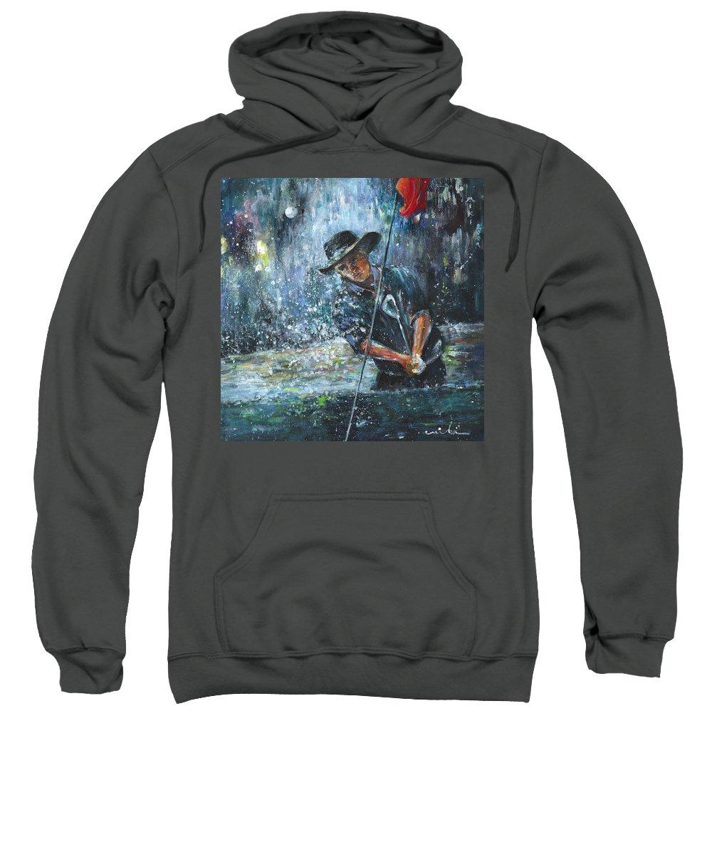 Golf Sweatshirt featuring the painting Golf Delirium Nocturnum 02 by Miki De Goodaboom