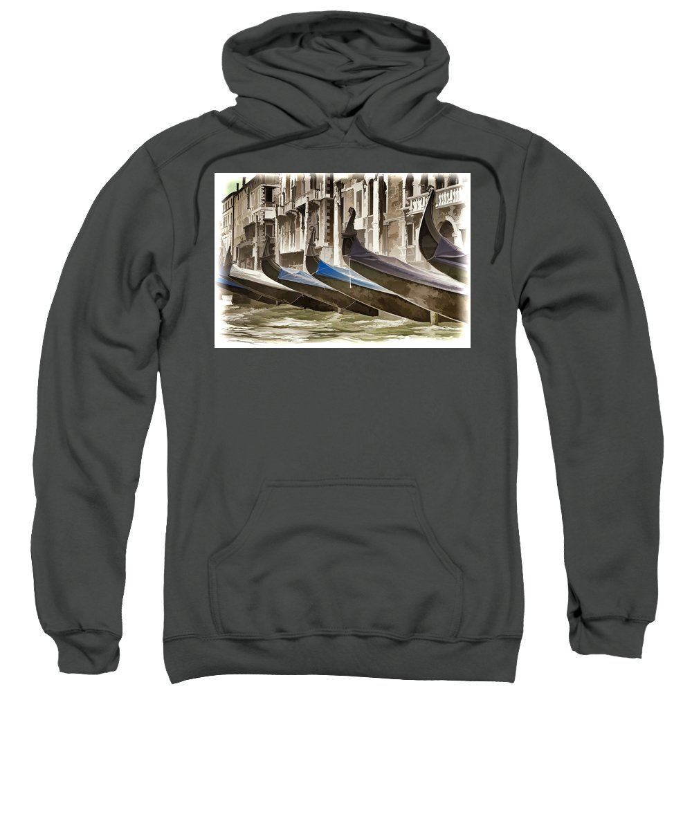 Gondola Sweatshirt featuring the photograph Gondolas-in-waiting  Venice by Jon Berghoff