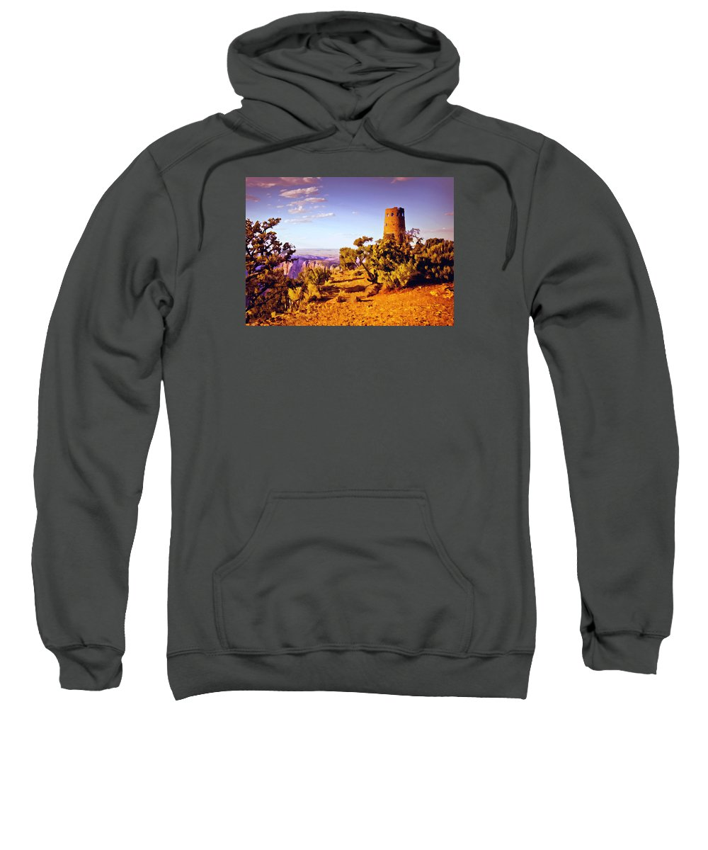 Abyss Sweatshirt featuring the painting Grand Canyon National Park Golden Hour Watchtower by Bob and Nadine Johnston