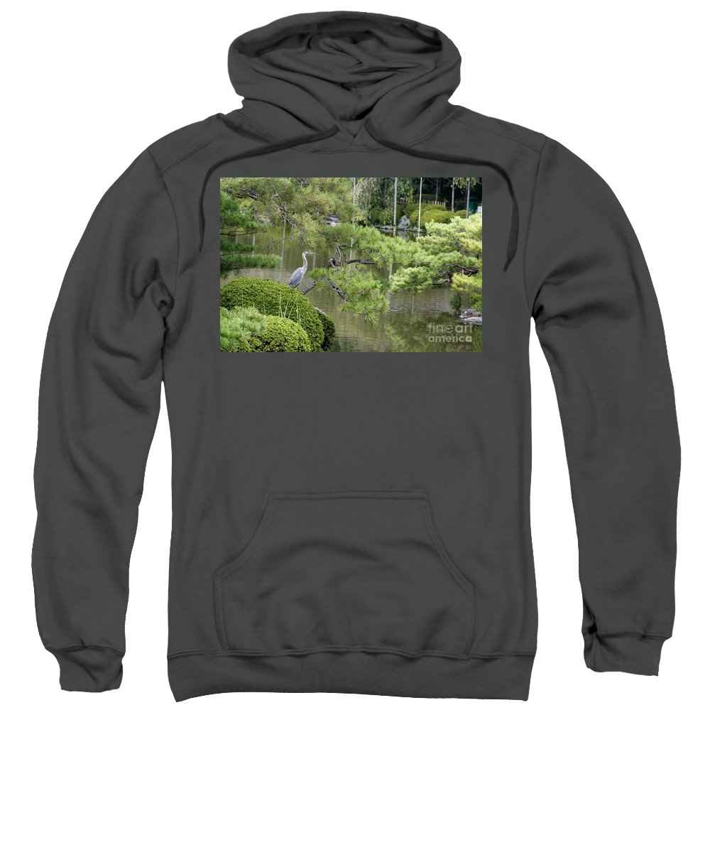 Blue Sweatshirt featuring the photograph Great Blue Heron In Pond Kyoto Japan by Thomas Marchessault