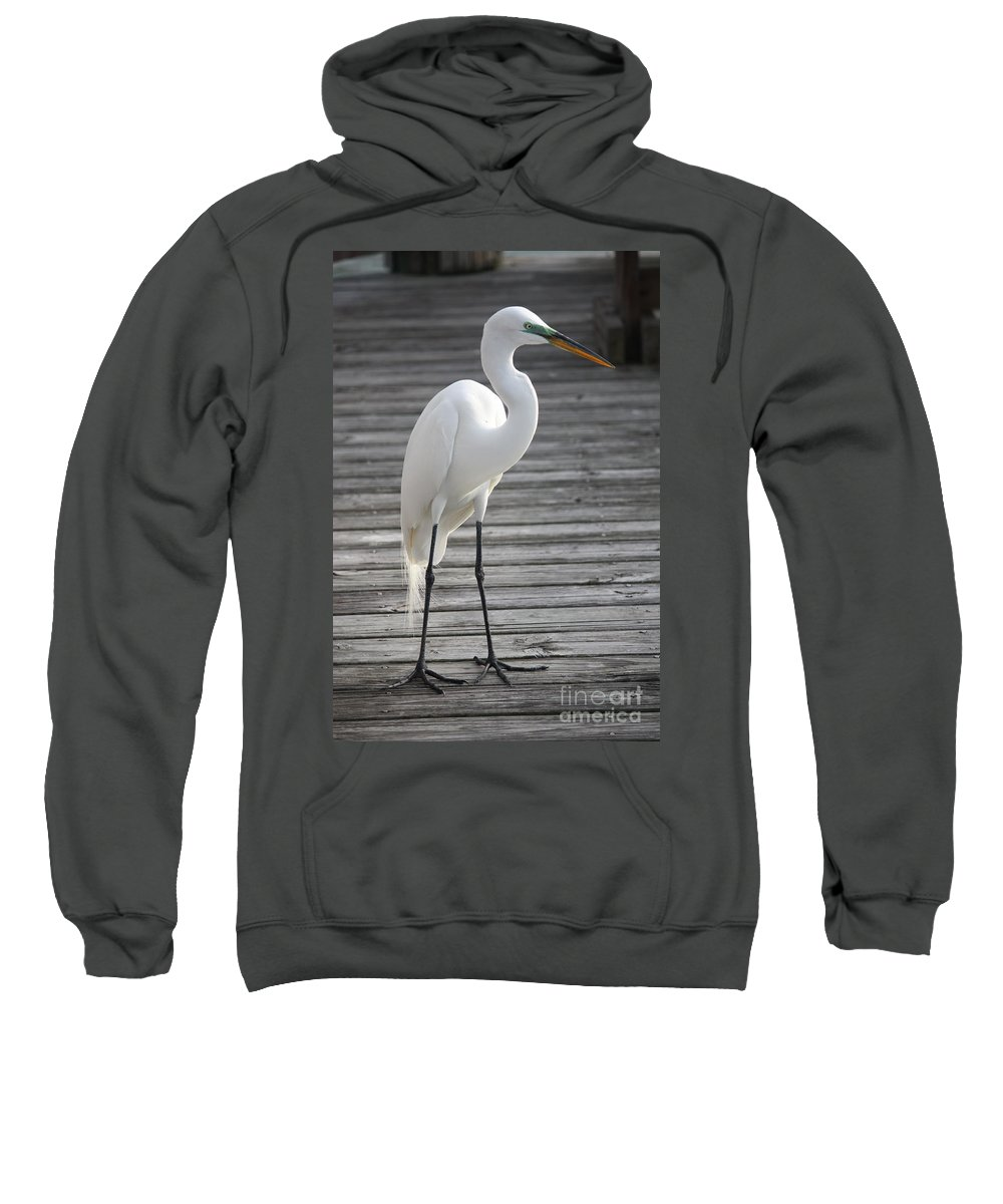 Egret Sweatshirt featuring the photograph Great Egret On The Pier by Carol Groenen