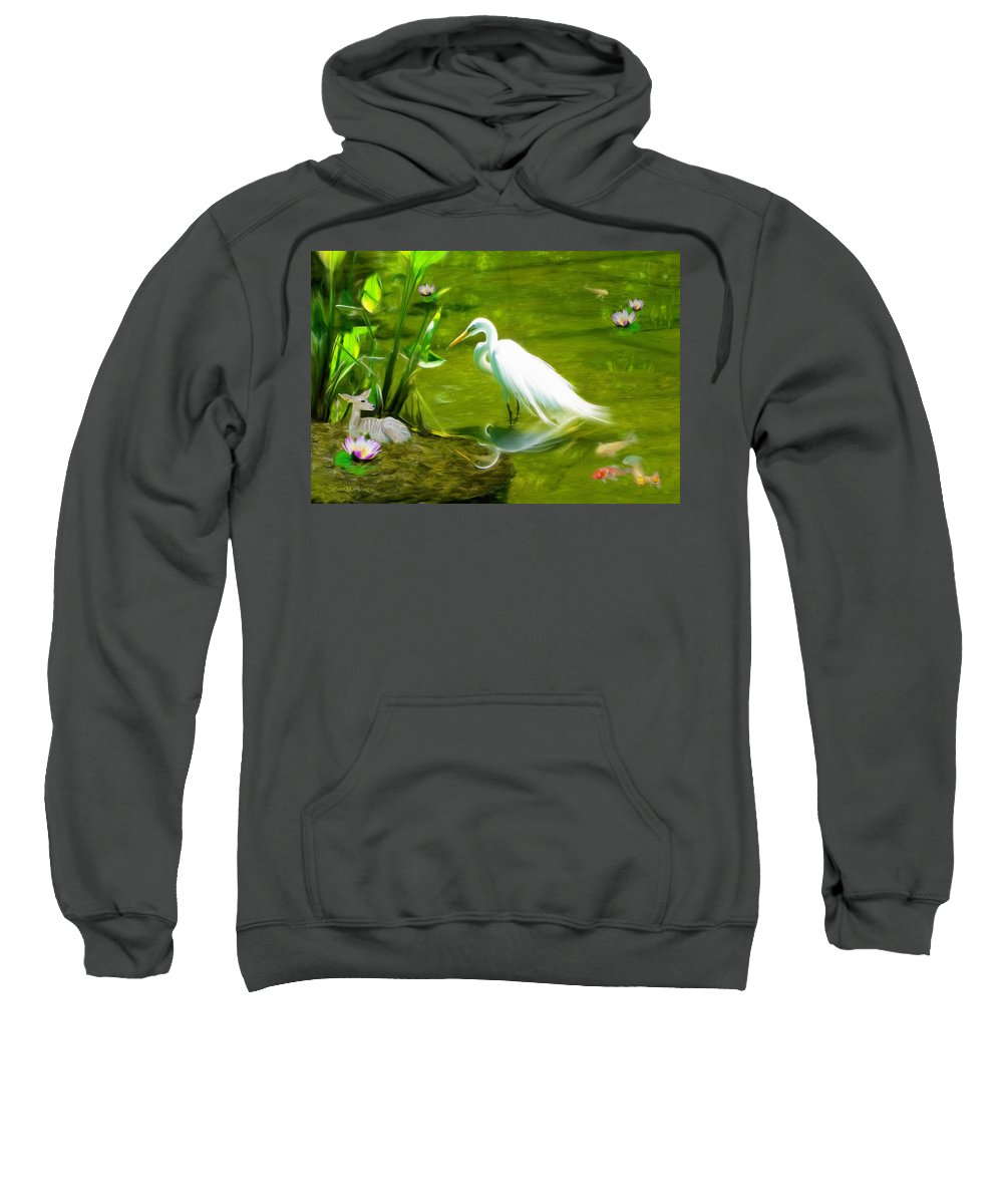 Bird Sweatshirt featuring the painting Great White Egret Bird With Deer And Fish In Lake by Susanna Katherine