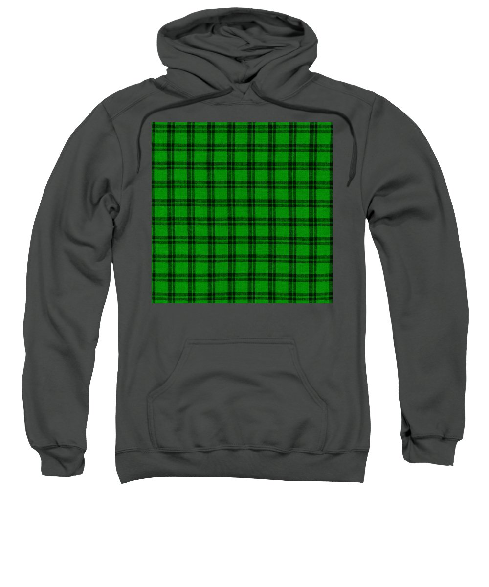 Plaid Fabric Sweatshirt featuring the photograph Green And Black Plaid Cloth Background by Keith Webber Jr
