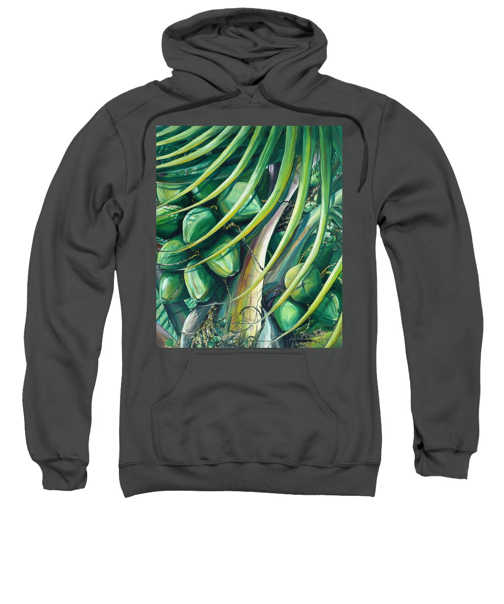 Coconut Painting Caribbean Painting Coconuts Caribbean Tropical Painting Palm Tree Painting  Green Botanical Painting Green Painting Sweatshirt featuring the painting Green Coconuts 2 by Karin Dawn Kelshall- Best