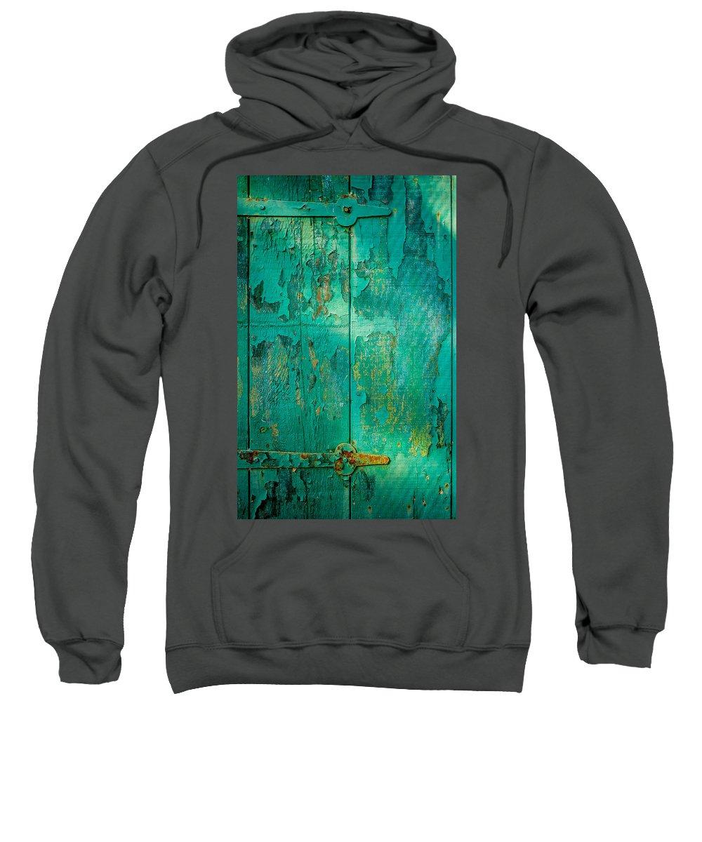 Wabi Sabi Sweatshirt featuring the photograph Green Door - Carmel By The Sea by David Smith