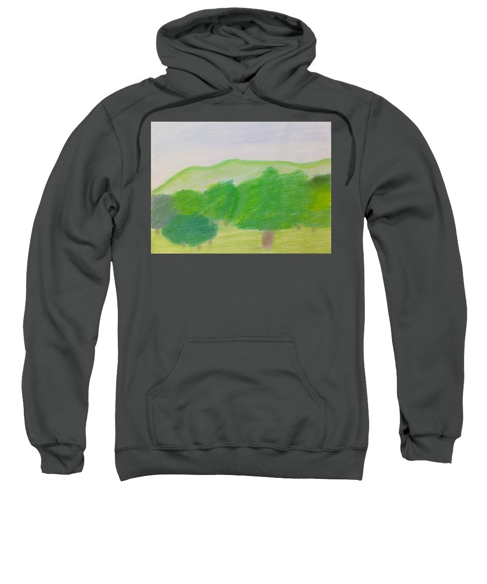 Light Green Trees Sweatshirt featuring the painting Green Enjoyment by Michael Woolcock