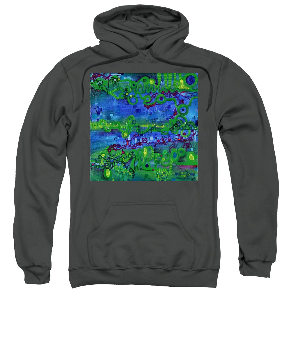 Path Integral Sweatshirt featuring the painting Green Functions by Regina Valluzzi
