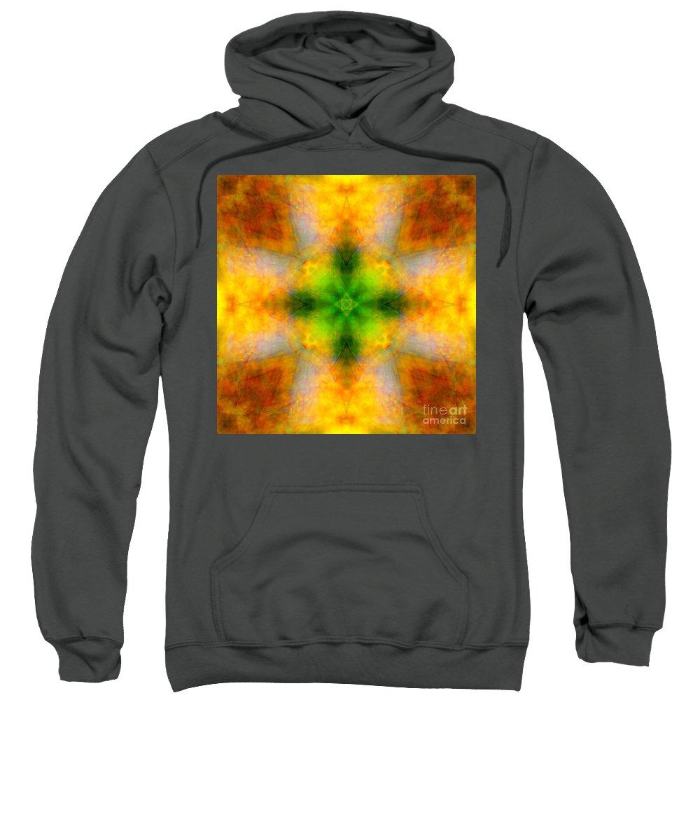 Green Sweatshirt featuring the photograph Green Heart Rainbow Light Mandala by Susan Bloom