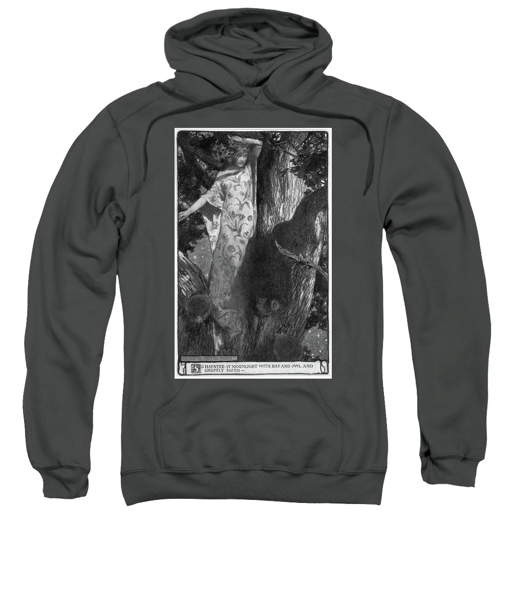 1902 Sweatshirt featuring the drawing Green Moonlight, 1902 by Granger