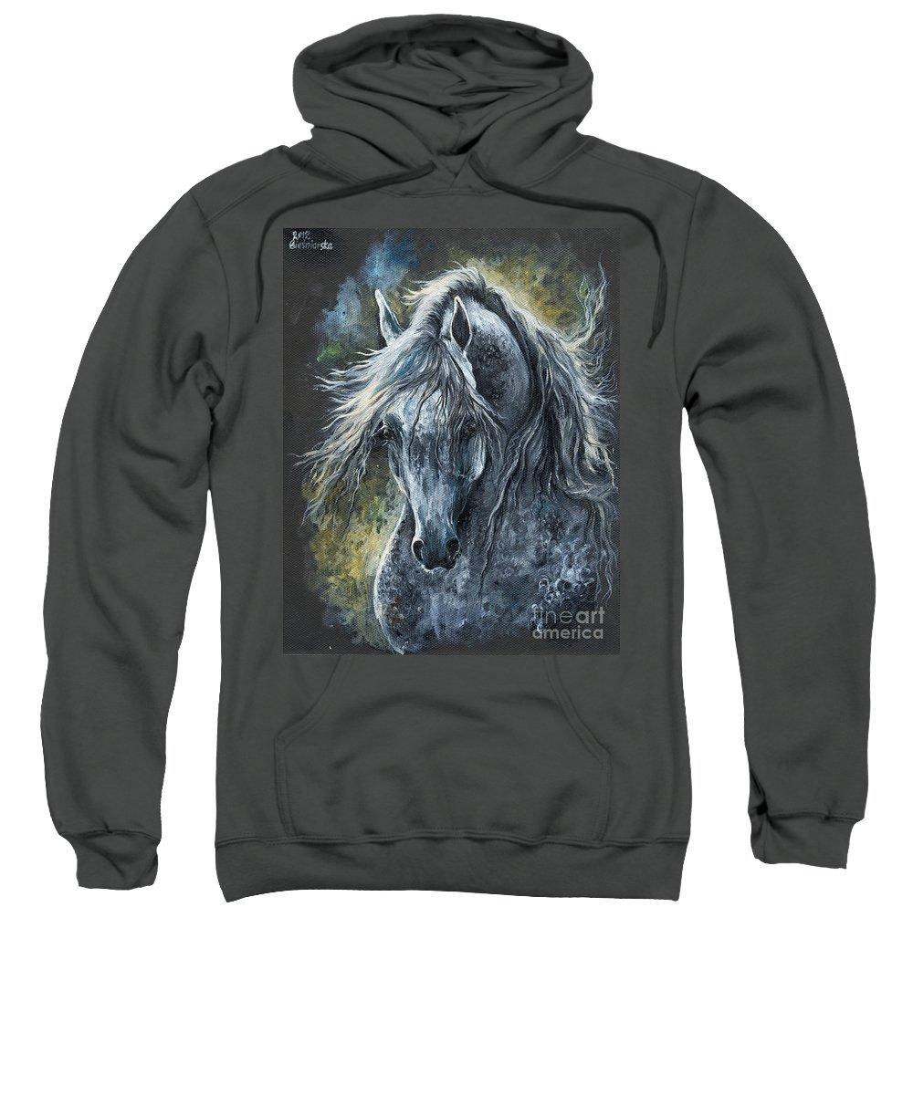 Horse Sweatshirt featuring the painting Grey Arabian Horse Oil Painting 2 by Angel Ciesniarska
