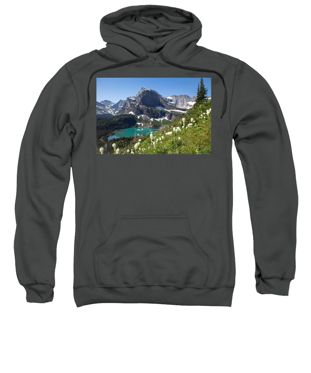 Beargrass Sweatshirt featuring the photograph Grinnell Lake With Beargrass by Jack Bell