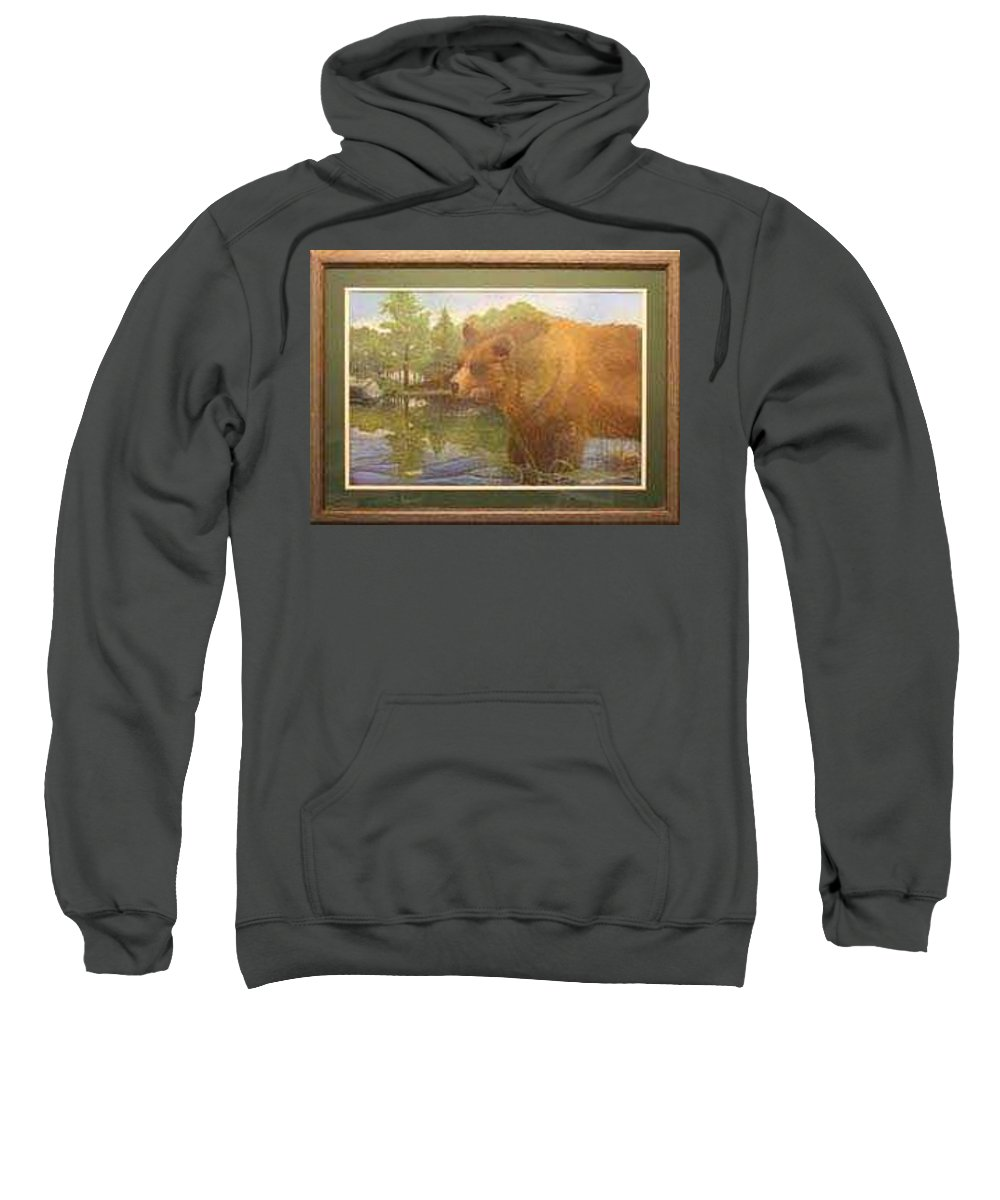 Rick Huotari Sweatshirt featuring the painting Grizzly by Rick Huotari