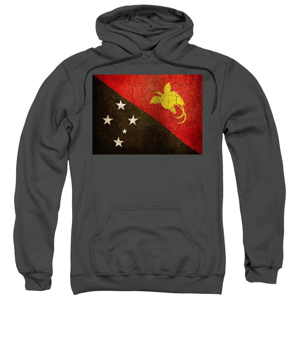Aged Sweatshirt featuring the digital art Grunge Papua New Guinea Flag by Steve Ball
