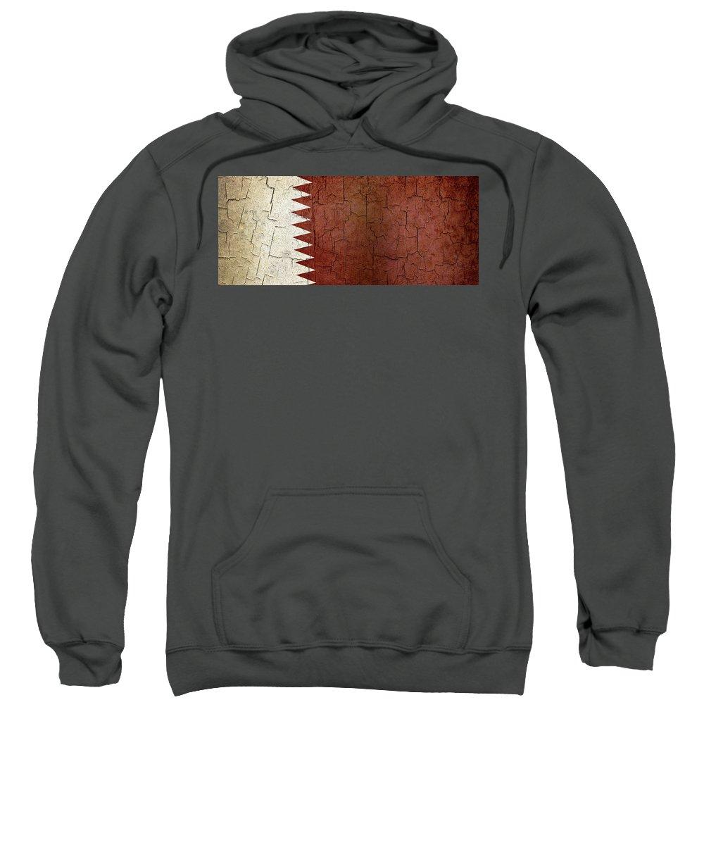 Aged Sweatshirt featuring the digital art Grunge Qatar Flag by Steve Ball
