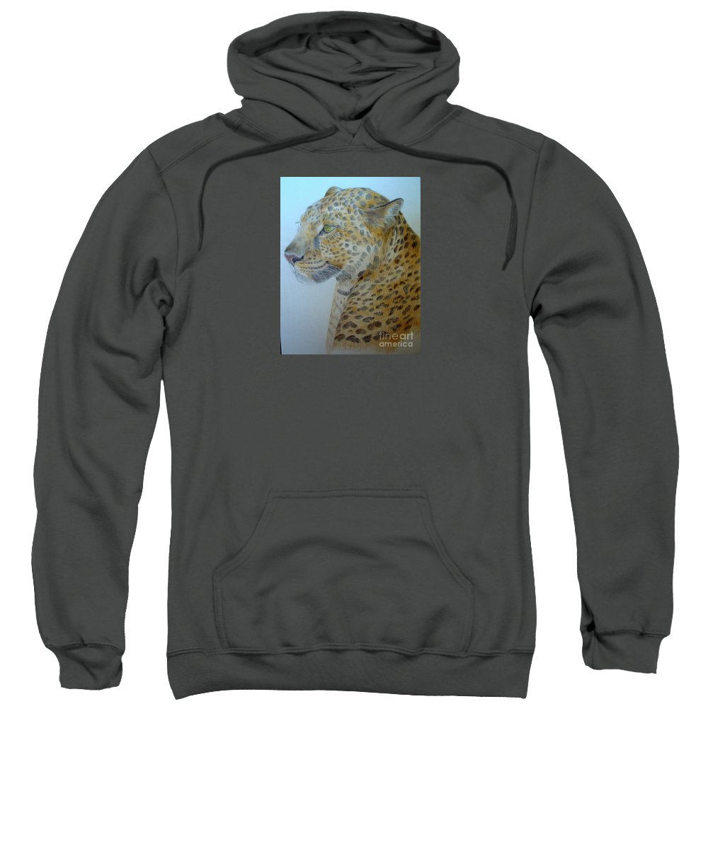 Cat Wild Cat Colored Pencils Paper Drawing Sweatshirt featuring the drawing Guepard by Nadi Sabirova