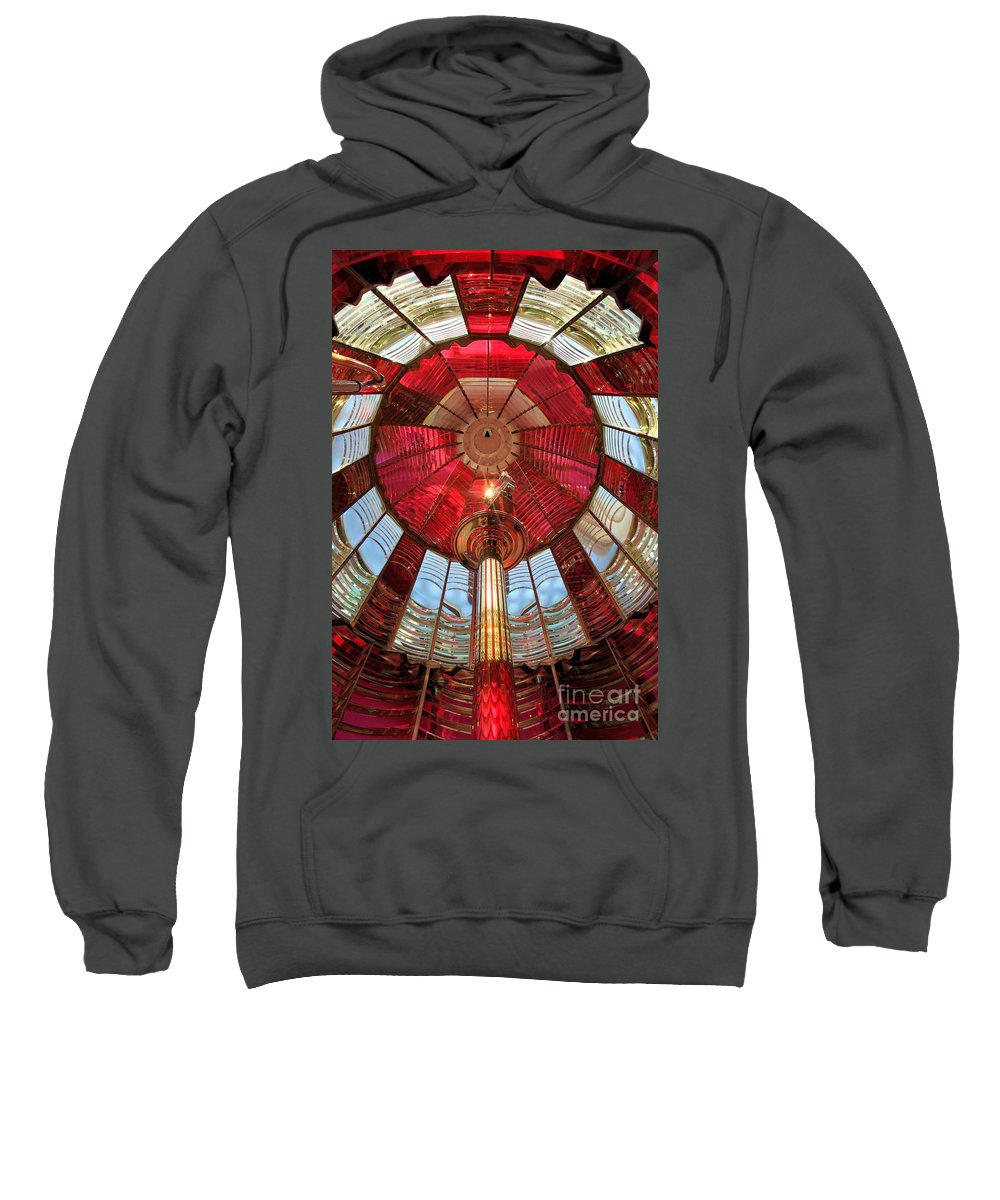 First Order Fresnel Lens Sweatshirt featuring the photograph Guiding Red by Adam Jewell
