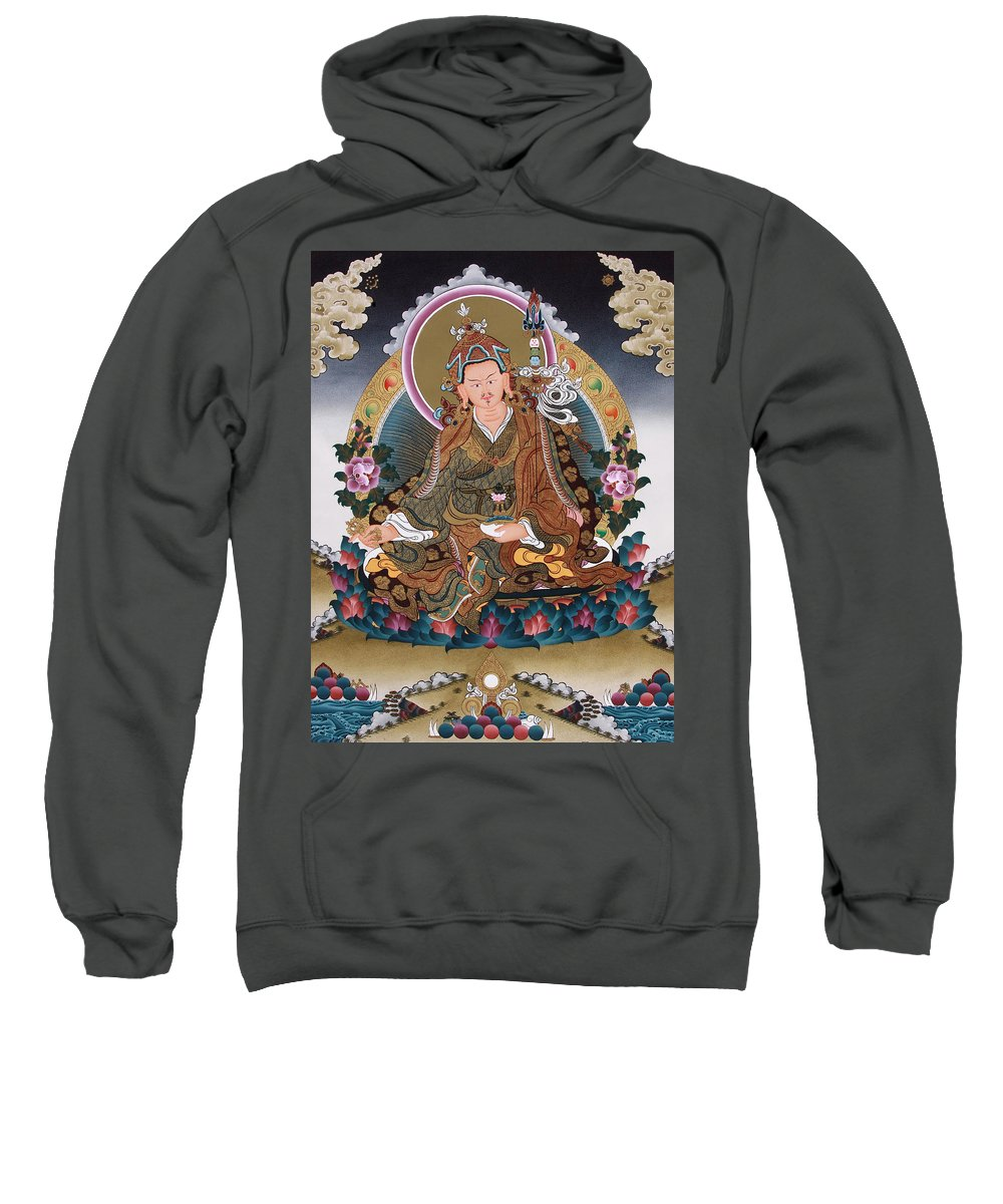 Guru Rinpoche Sweatshirt featuring the painting Guru Rinpoche Thangka Art Canvas by Ts