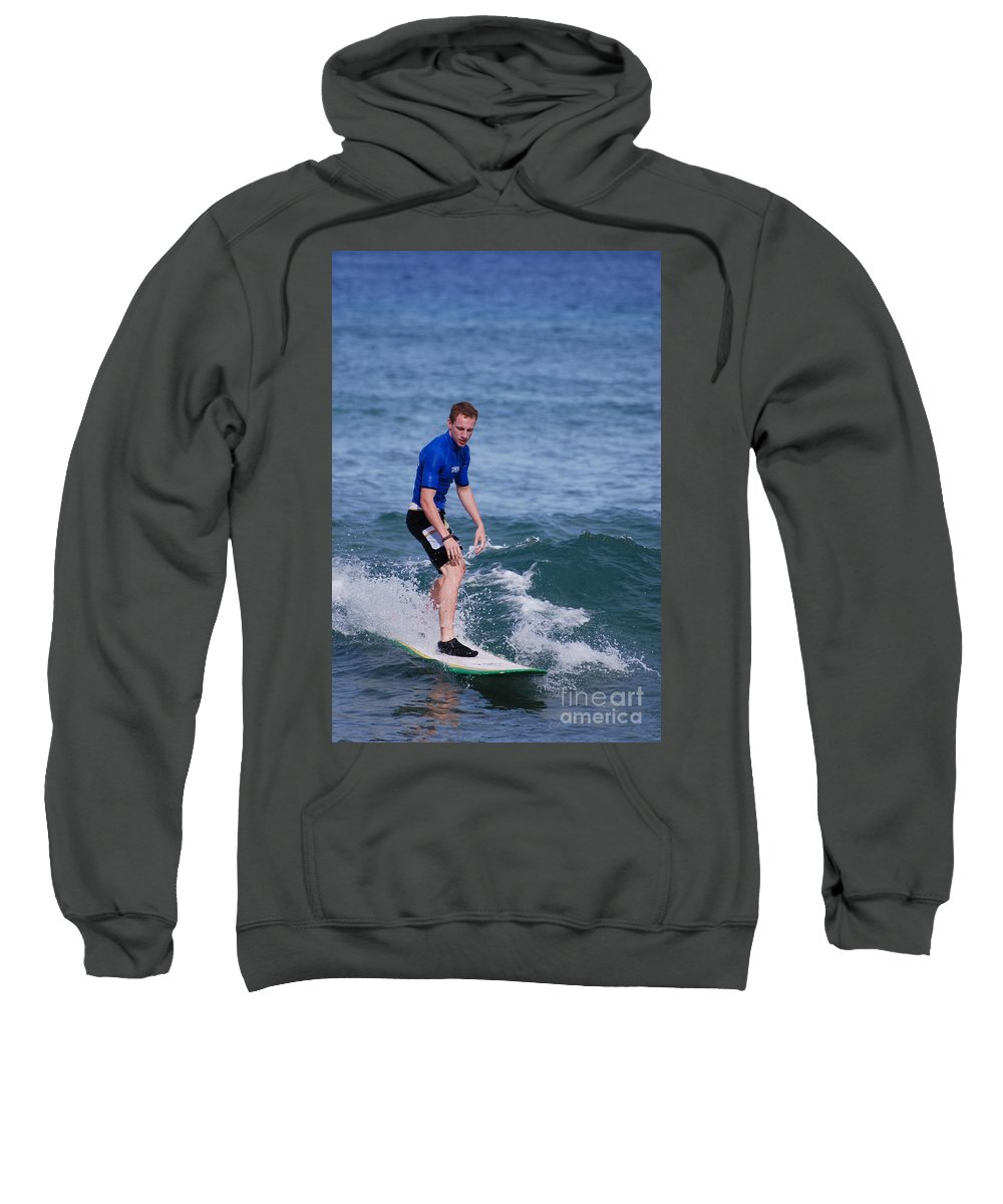 Surfer Sweatshirt featuring the photograph Guy Surfing by DejaVu Designs