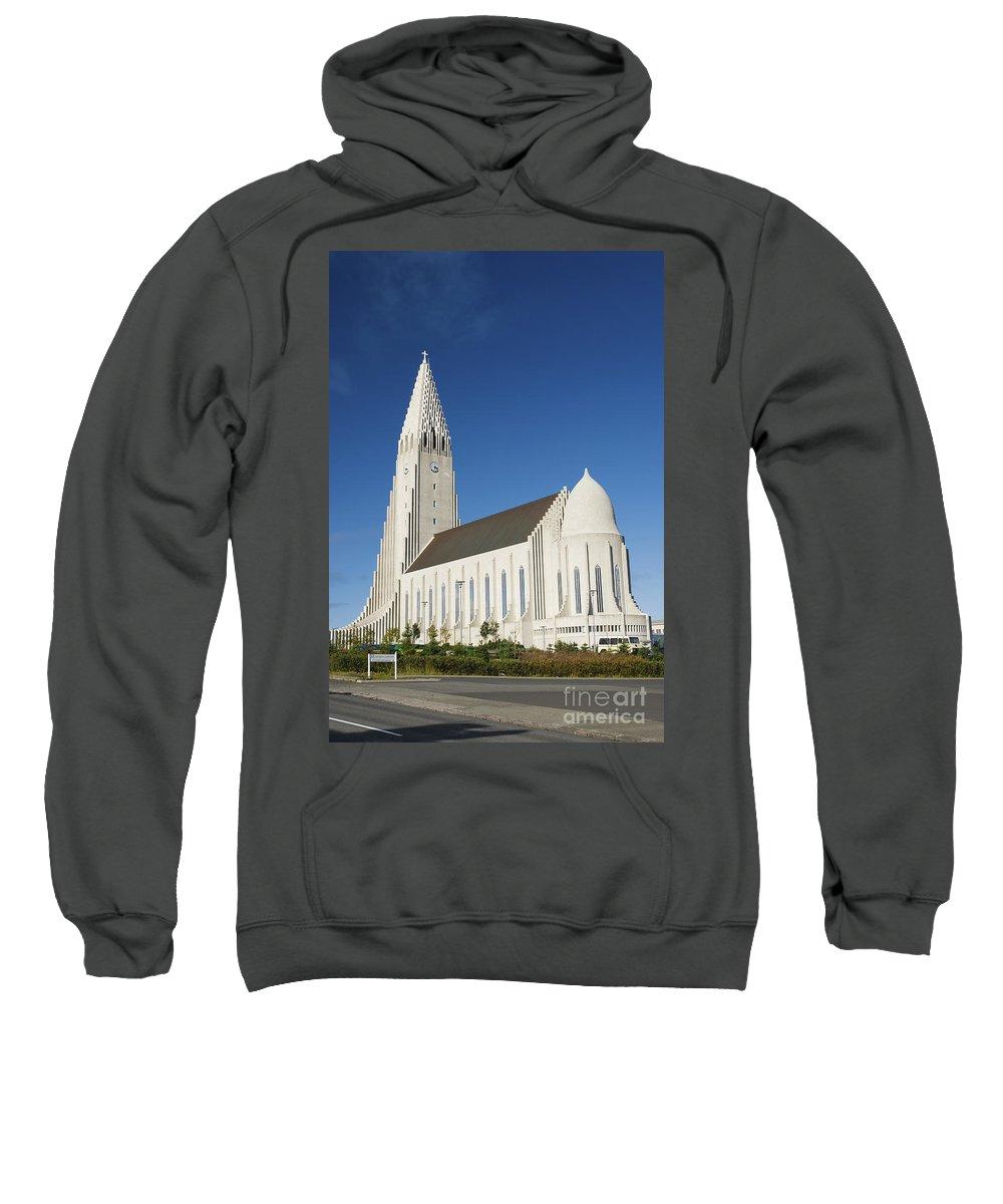 Hallgrimskirkja Sweatshirt featuring the photograph Hallgrimskirkja Church In Reykjavik Iceland by Jacek Malipan