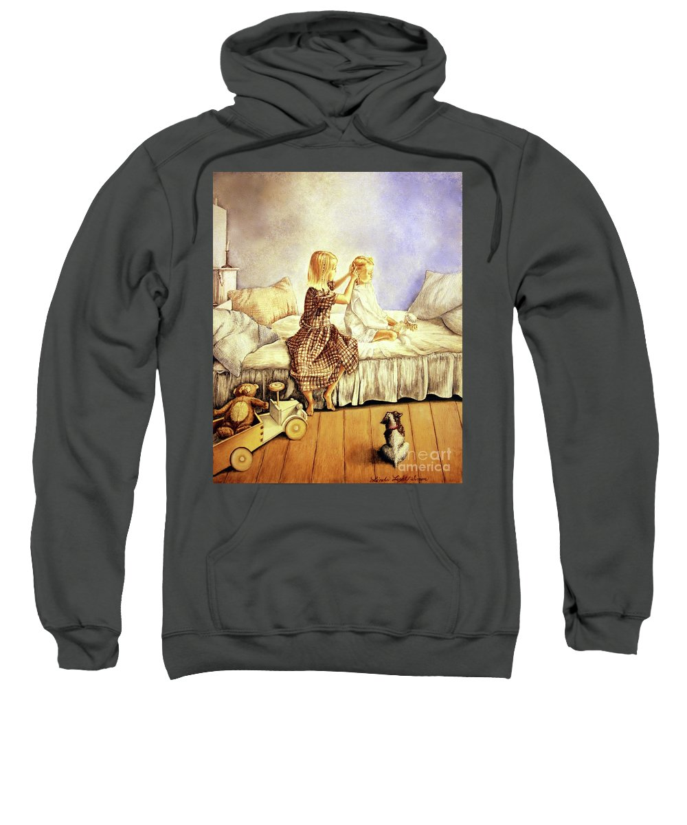 Animals Sweatshirt featuring the painting Hands Of Devotion - Childhood by Linda Simon