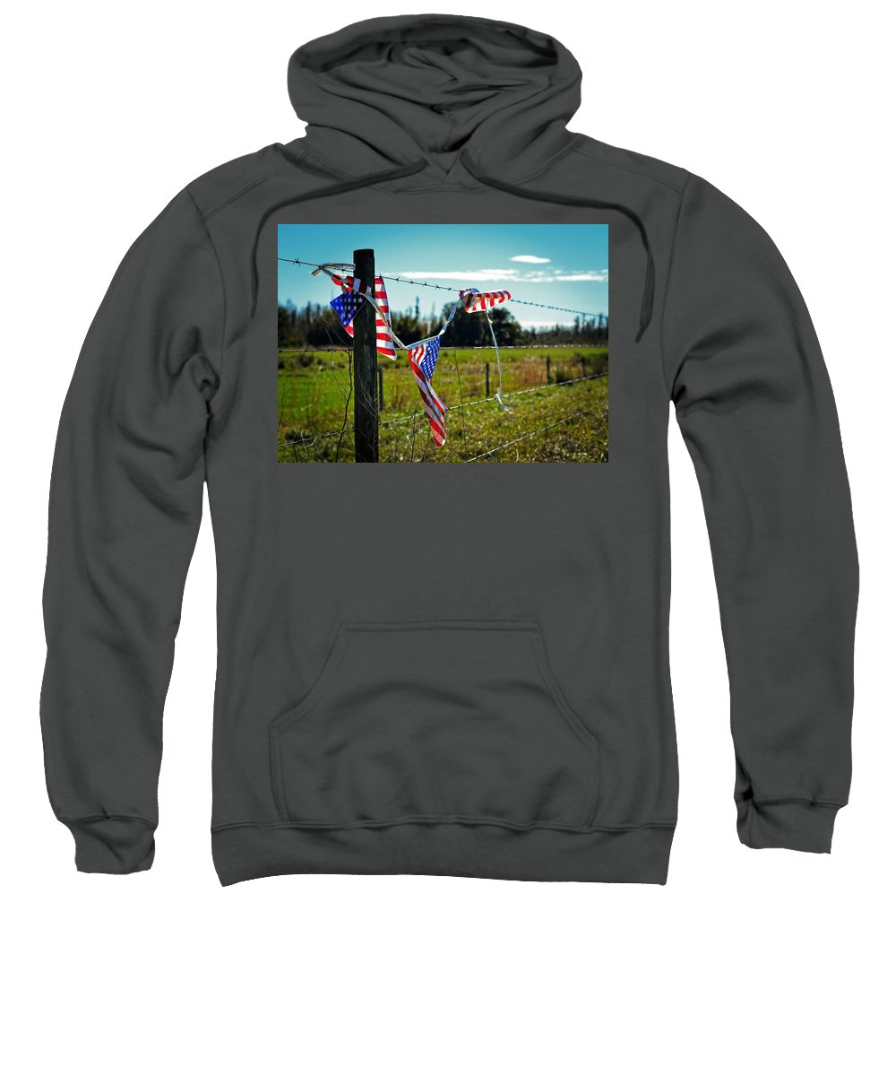 Flag Sweatshirt featuring the photograph Hanging On - The American Spirit By William Patrick And Sharon Cummings by Sharon Cummings