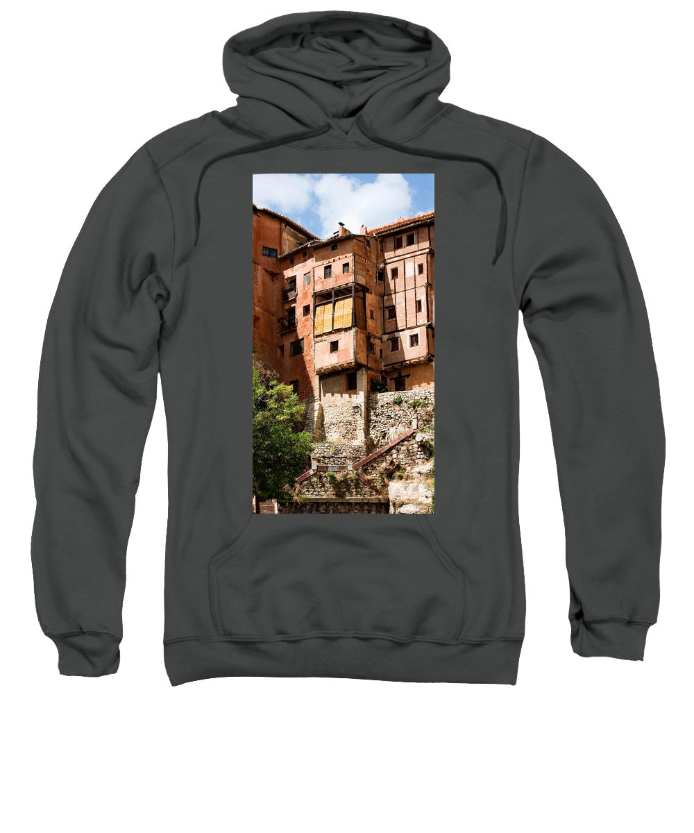 Albarracin Sweatshirt featuring the photograph Hanging Red Houses by Weston Westmoreland