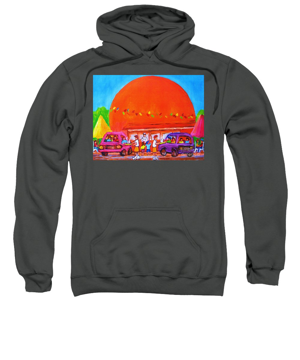 Montreal Sweatshirt featuring the painting Happy Days At The Big Orange by Carole Spandau