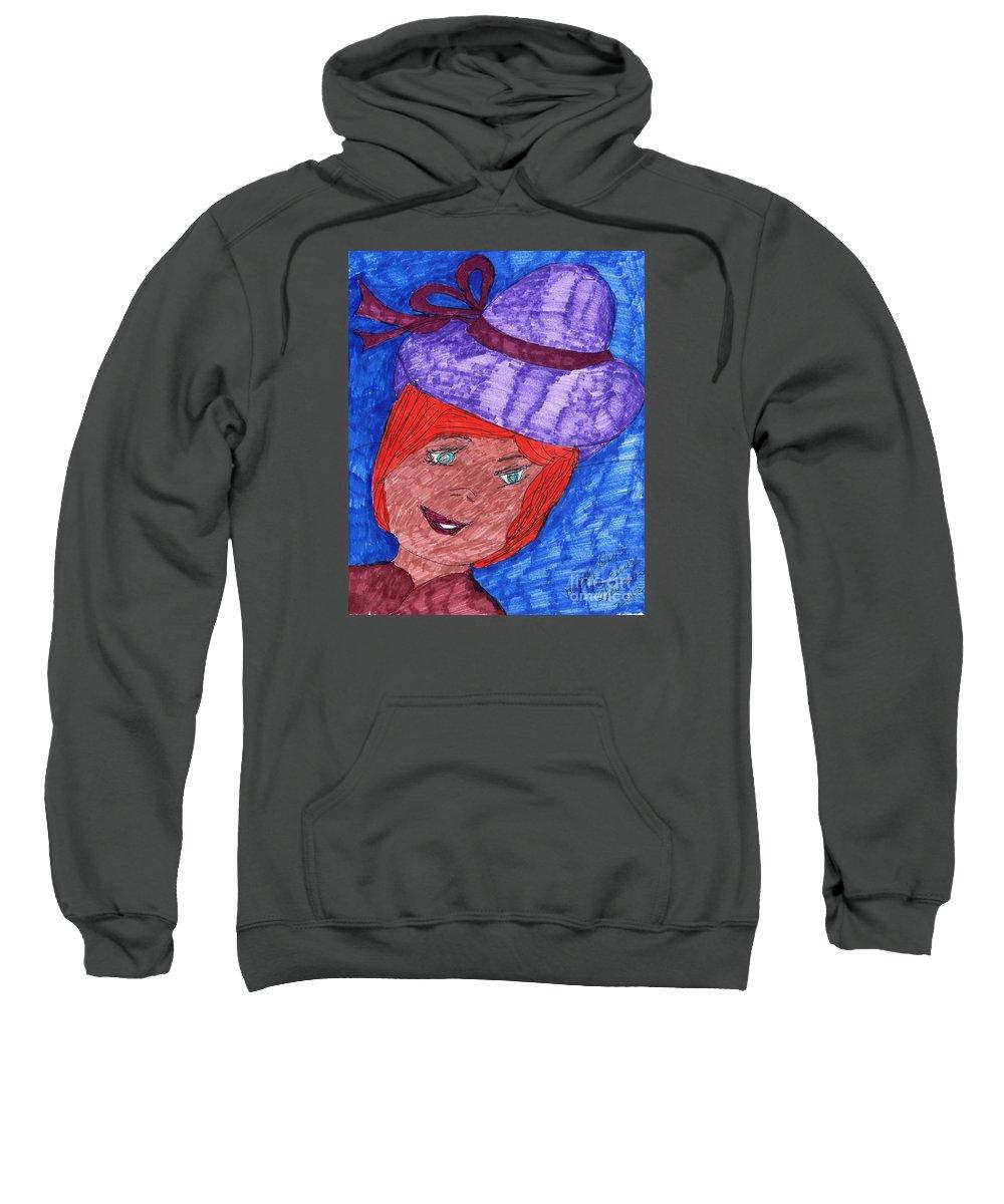 Blue Eyed Lady Red Hair Purple Hat Sweatshirt featuring the mixed media Happy Days by Elinor Helen Rakowski