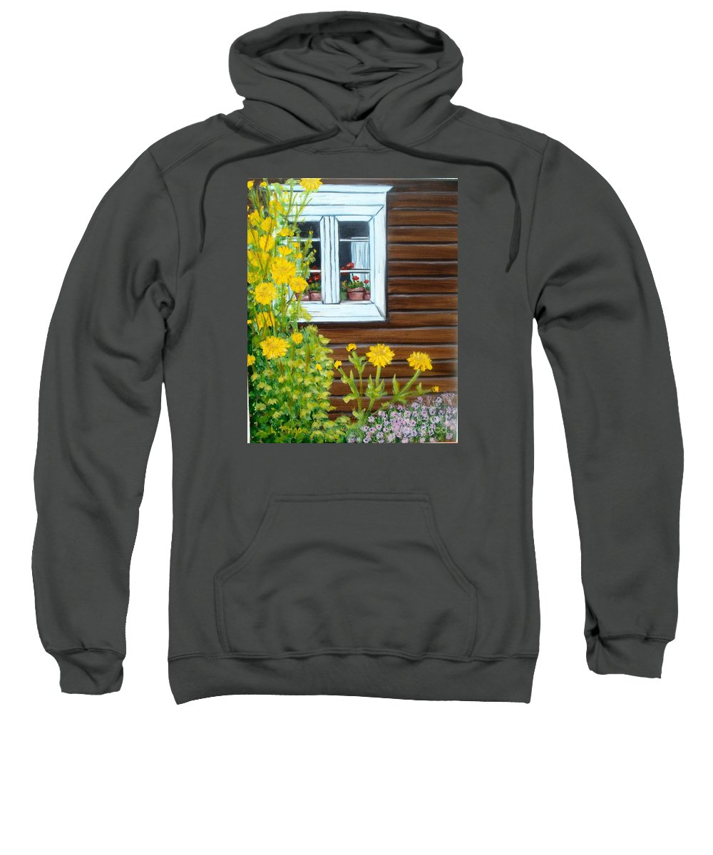 Window Sweatshirt featuring the painting Happy Homestead by Laurie Morgan