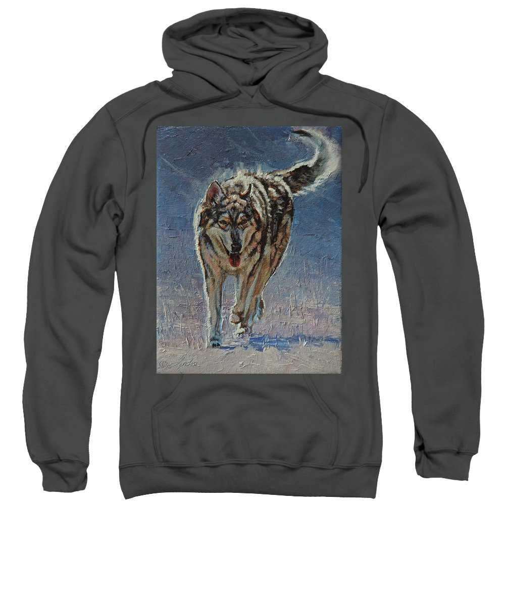 Canine Sweatshirt featuring the painting Happy Trails by Mia DeLode