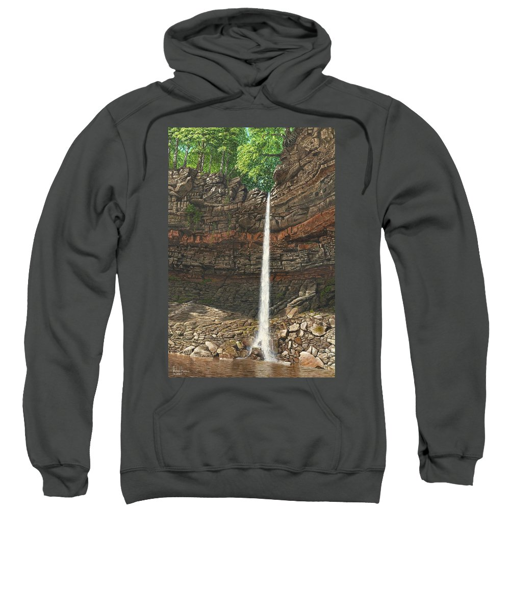 Hardraw Force Sweatshirt featuring the painting Hardraw Force Yorkshire by Richard Harpum
