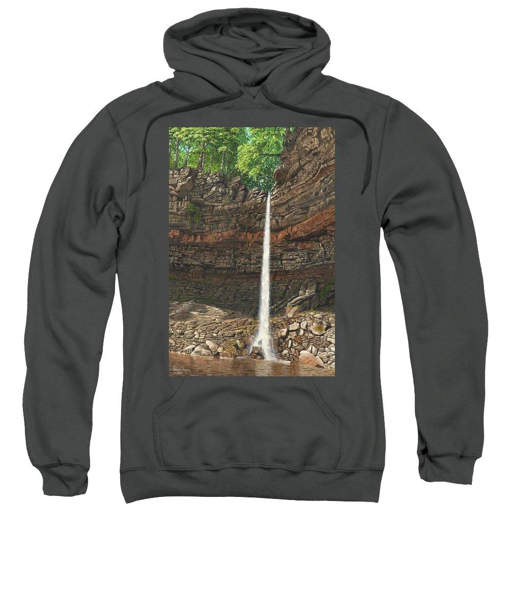 Hardraw Force Sweatshirt featuring the painting Hardraw Force Yorkshire by Richard Harpum