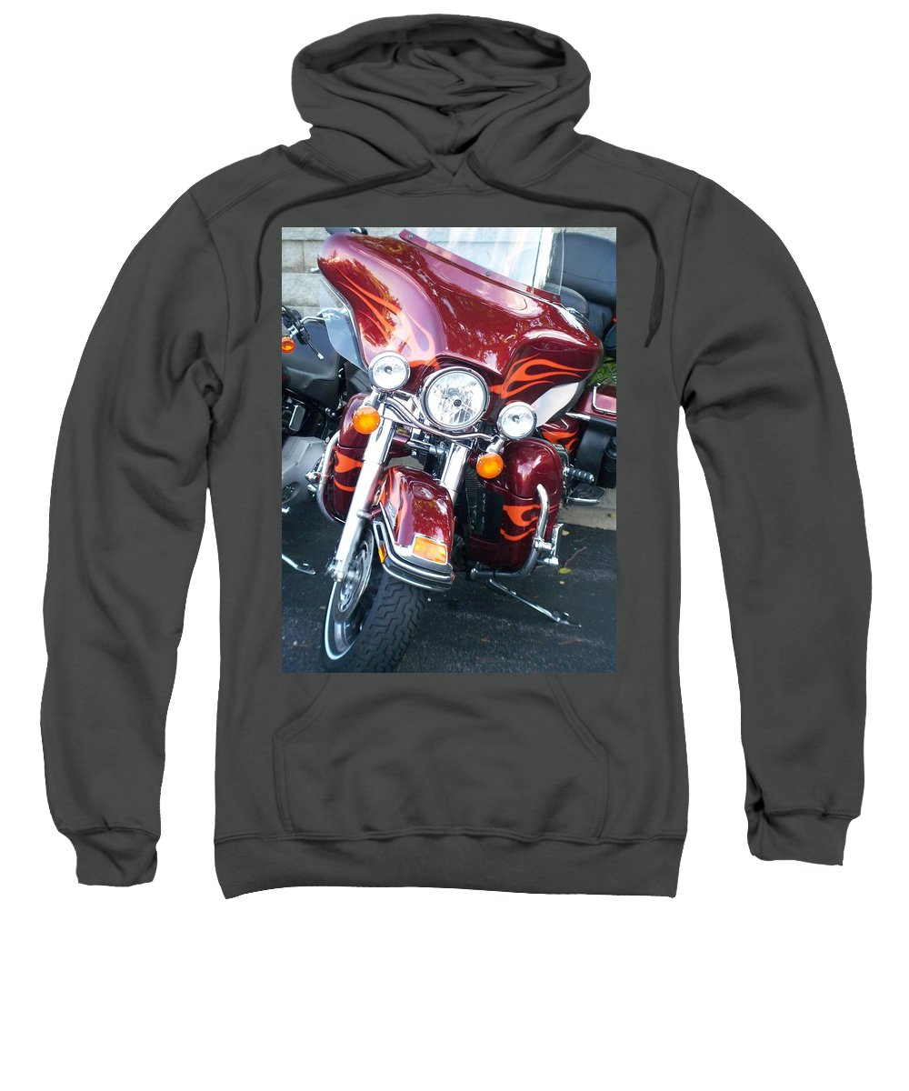 Motorcycles Sweatshirt featuring the photograph Harley Red W Orange Flames by Anita Burgermeister