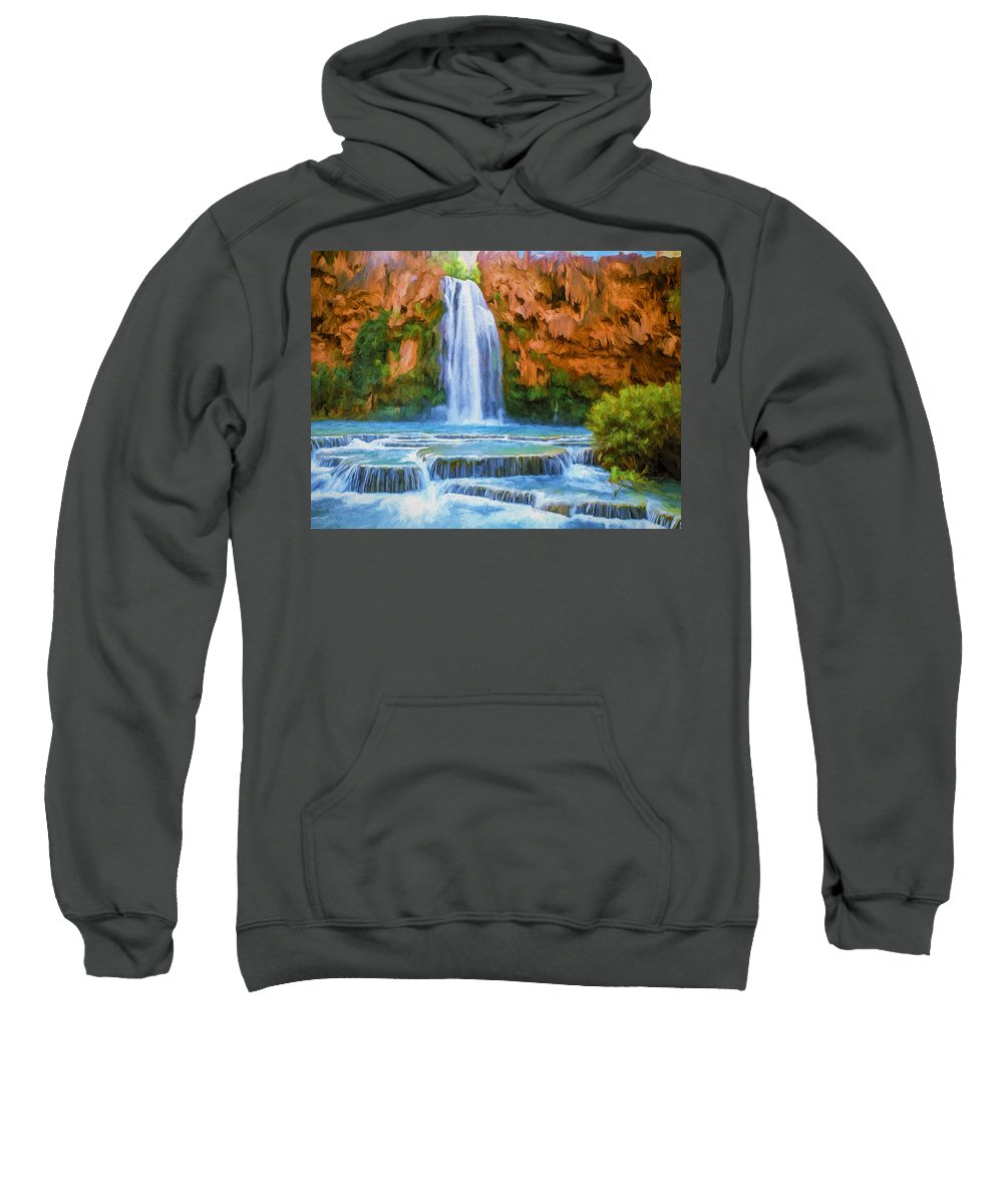 Fine Art Sweatshirt featuring the painting Havasu Falls by David Wagner