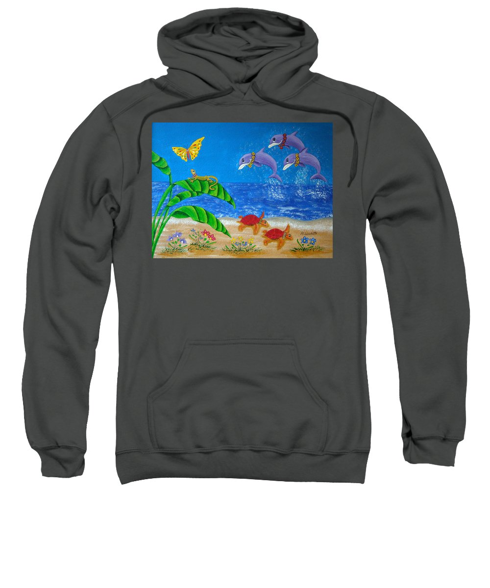 Allegretto Art Sweatshirt featuring the painting Hawaiian Lei Day by Pamela Allegretto