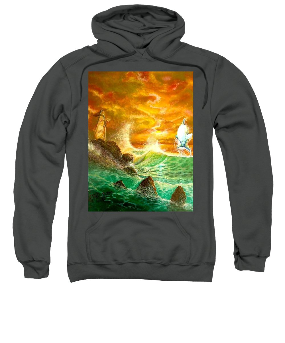 Hawaii Seascape Sweatshirt featuring the painting Hawaiian Spirit Seascape by Leland Castro