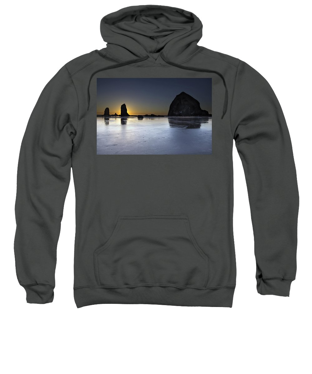 Haystack Sweatshirt featuring the photograph Haystack Rocks And The Needles At Cannon Beach by Jit Lim