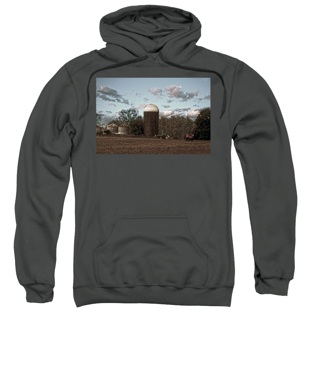 Hdr Sweatshirt featuring the photograph Hdr Image The Farmers Silo by Lesa Fine