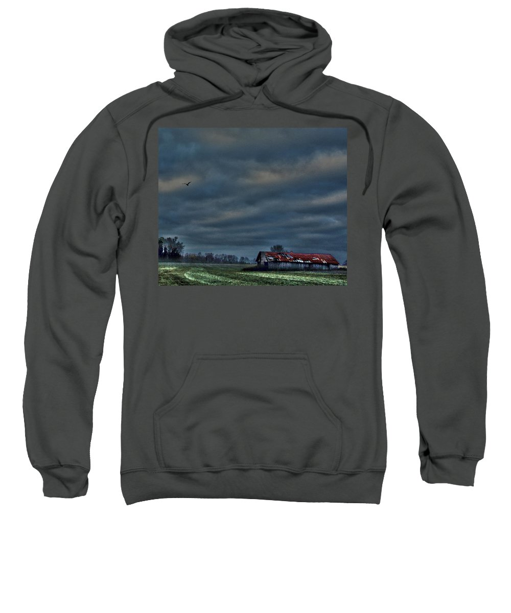 Hdr Print Sweatshirt featuring the photograph Hdr Print Red Tattered Barn by Lesa Fine