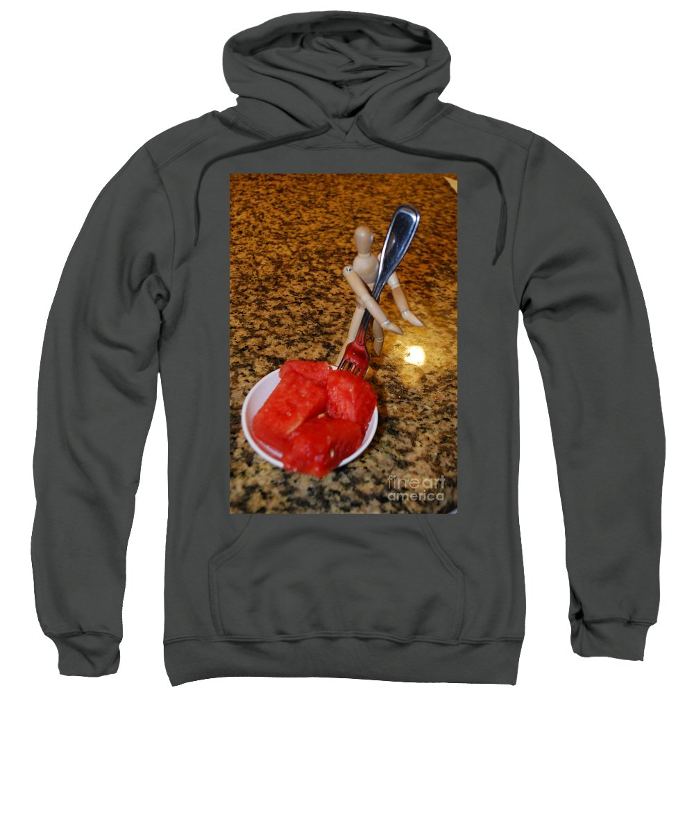 Photo Assistant Sweatshirt featuring the photograph Helping With The Watermelon Number 1 by Heather Kirk