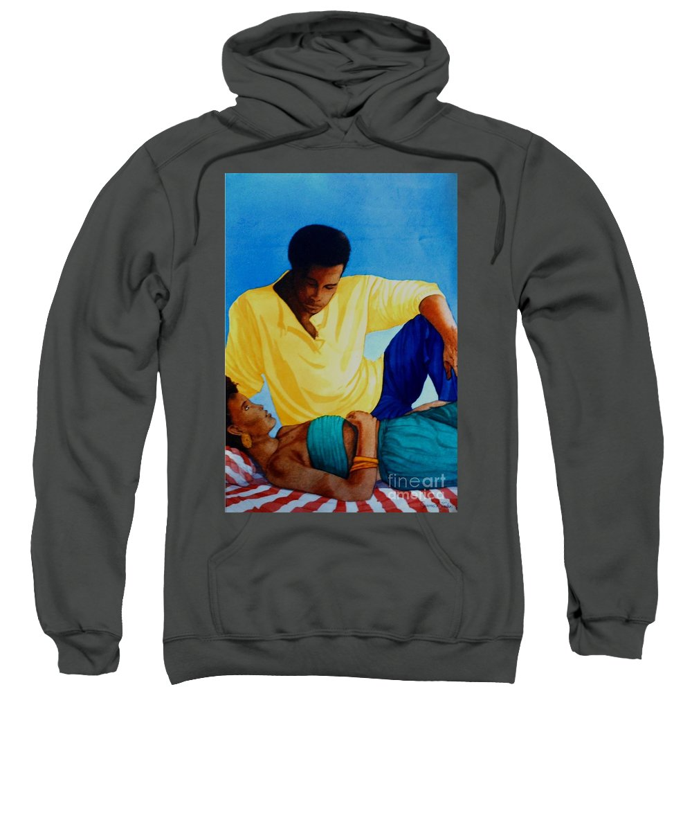 Watercolor Sweatshirt featuring the painting Here And Now by JL Vaden