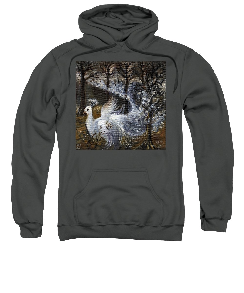 Peacock Sweatshirt featuring the painting Here Comes The Mist by Angel Ciesniarska