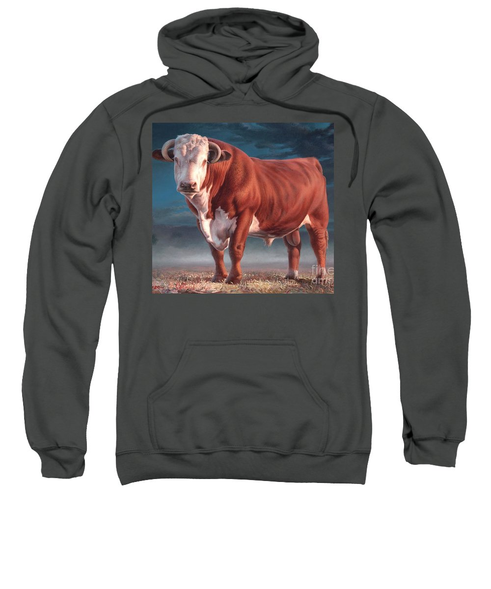 Hereford Bull Sweatshirt featuring the painting Hereford Bull by Hans Droog