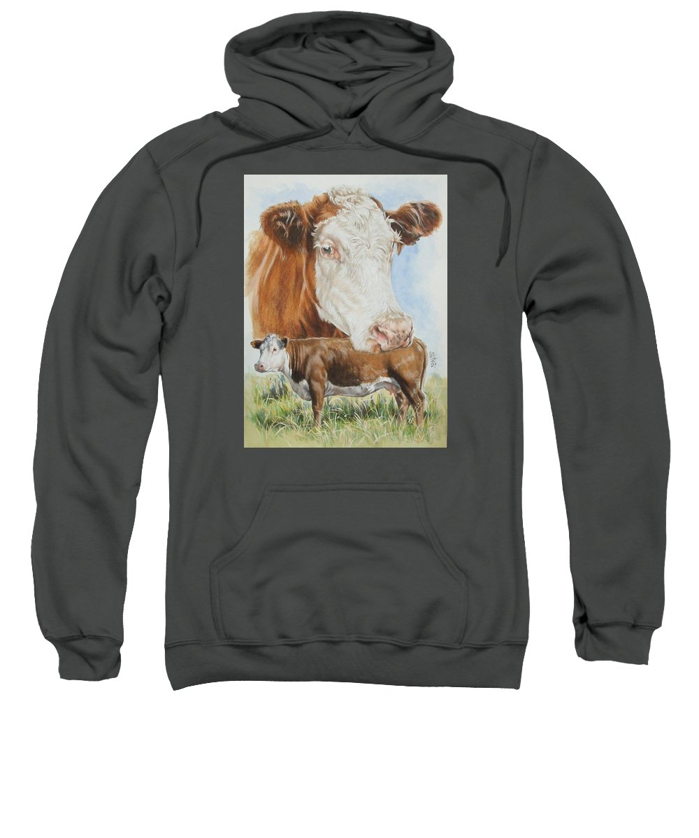Cattle Sweatshirt featuring the mixed media Hereford Cattle by Barbara Keith