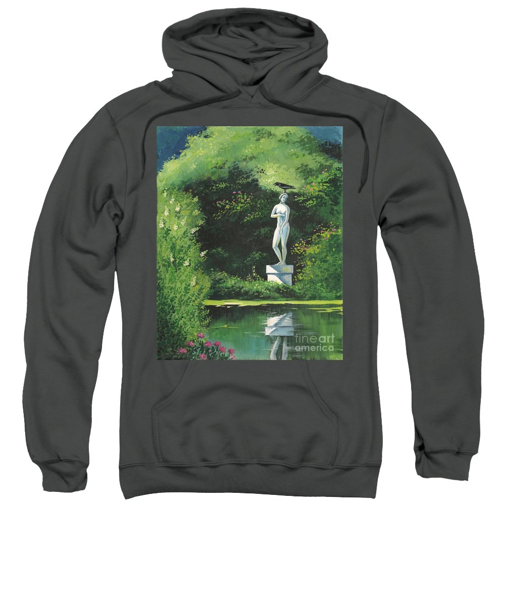 Landscape Sweatshirt featuring the painting Hidden Garden by Margaryta Yermolayeva