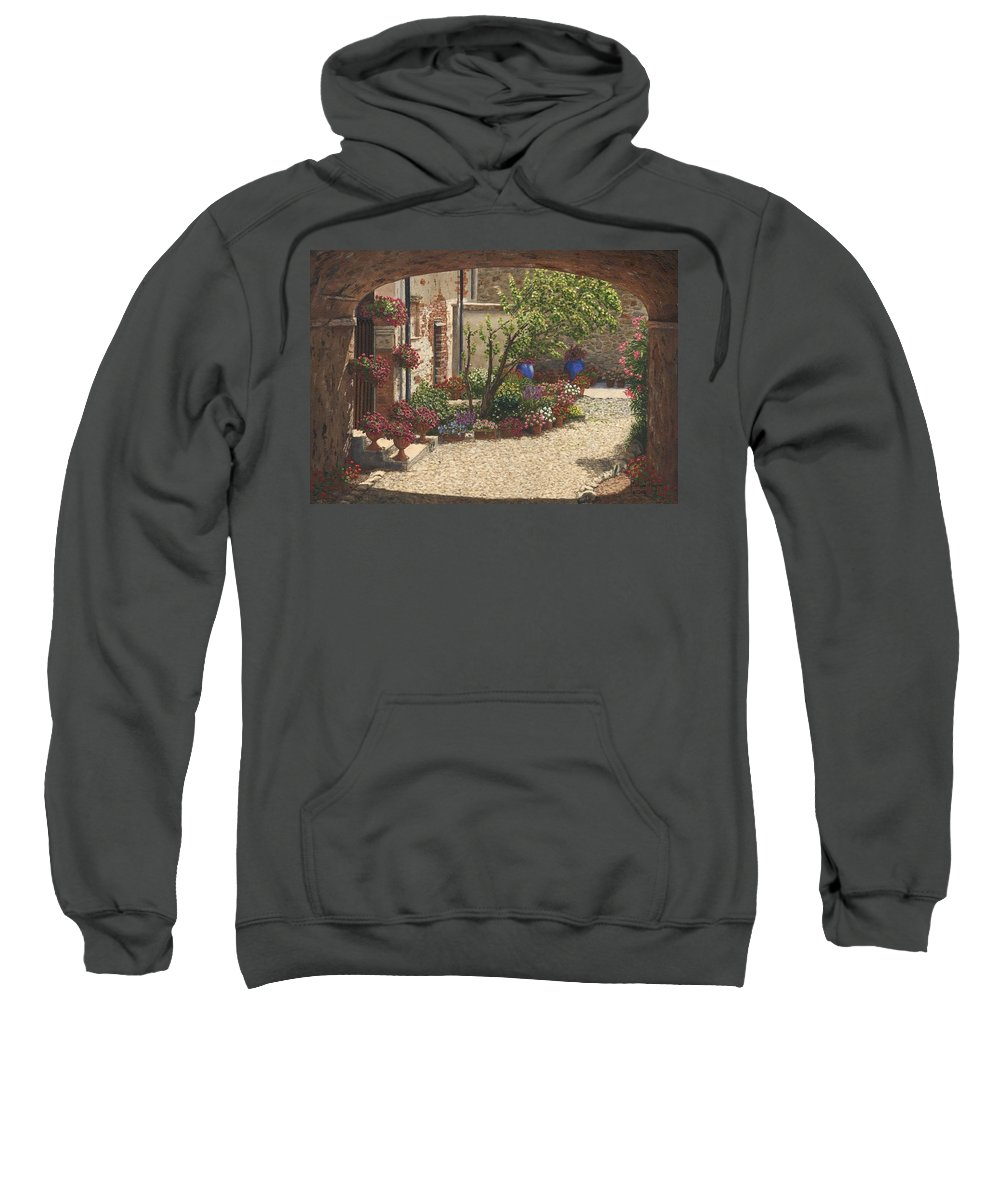 Landscape Sweatshirt featuring the painting Hidden Garden Villa Di Camigliano Tuscany by Richard Harpum