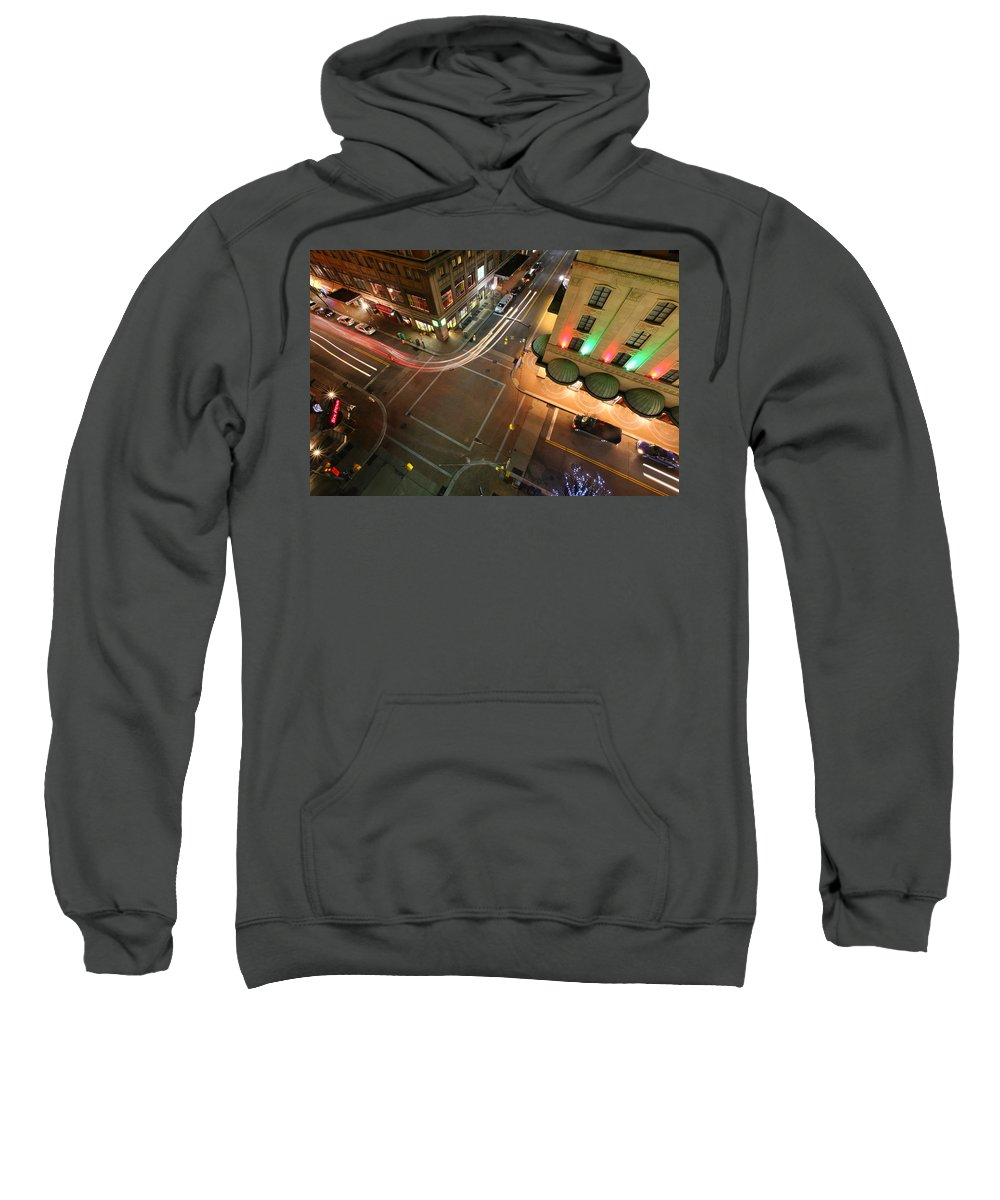 Pittsburgh Pa Pennsylvania Skyline Taaffe Urban Urbanx City City View Sweatshirt featuring the photograph High Above by Jimmy Taaffe